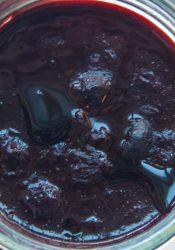 Suikervrije blauwebessenjam met agar